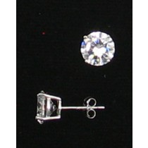 LA ER-059 CZ  8mm Round CZ Earrings