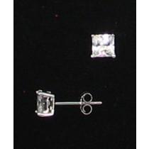 LA ER-064 CZ  5mm Square CZ Earrings