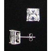 LA ER-067 CZ  8mm Square CZ Earrings