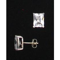 LA ER-071 CZ  9mm x 7mm  Rectangle CZ Earrings