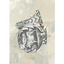 "SPR-2508  Mechanics Sterling Co. ""Birth Month Series April / Taurus"" engraved ""1906"""